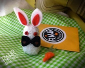 White RAWR Sock Bunny with Adoption Kit and DIY Carrot Sewing Tutorial