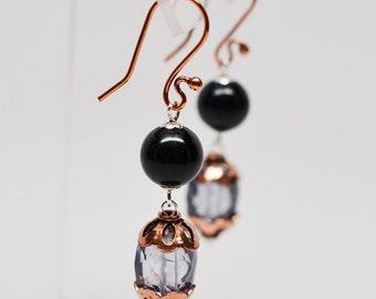 Copper, black onyx & blue quartz gemstone dangle earrings