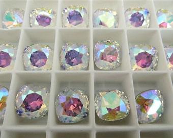 1 Crystal AB Foiled Swarovski Crystal Square Cushion Cut Stone 4470 12mm