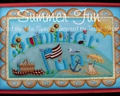 Painting E-Pattern Primitive Folk Art Summer Fun Terrye French Painting With Friends Americana