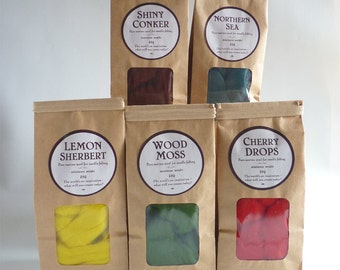 Merino wool roving,  pick your own five bag bundle,  25g (1oz)  bags, needle felting wool