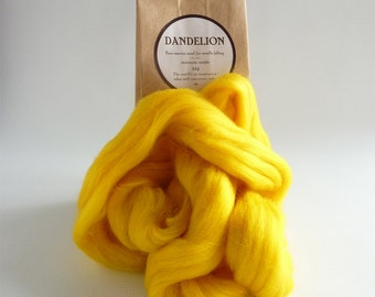 Bright yellow merino roving, 25g (1oz) Dandelion, 21 micron, merino roving,  merino tops, felting wool, needle felting, wet felting