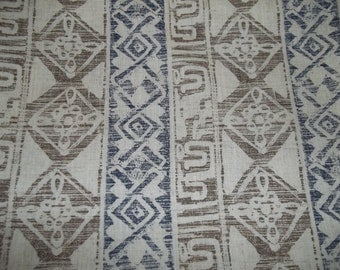 """Printed Faux Batik Fabric Taupe and Blue 60"""" wide by 2.5 yards"""