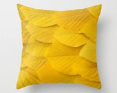 Yellow Leaves Pillow Cover Natural History Photography Yellow Leaf Autumn Fall Winter Is Coming Botany Pillow Cover