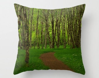 Get Lost Forest Print Trees Moss Woodland Path Forest Scene Green Moss Woodland Pillow Forest Pillow Path Natural History