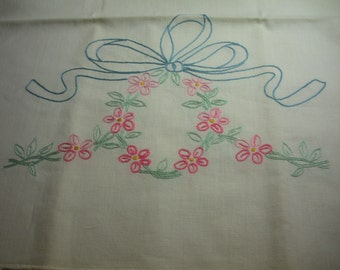 Vintage Embroidered Dresser Scarf Blue Bow with Pink Flowers