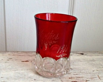 ruby red tiffin kings crown thumbprint glass tumbler Mother 1906