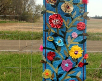 A Garden of Thrift - Upcycled Quilted Fiber Art Wall Hanging - Heirloom