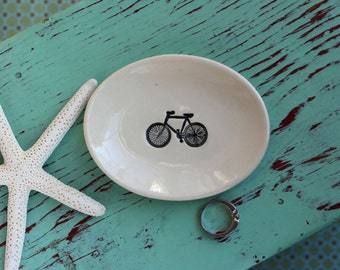 Small Oval Dish with Black Bicycle