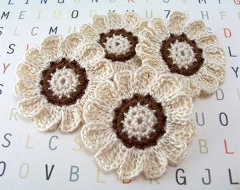 Crochet  Flowers, Crochet Appliques, Crochet 12 Petal Flowers, Ecru and Brown Flowers