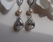Sterling Silver Plated Cubic Zirconia Crystal Drop and Swarovski  White Pearl Earrings, Bridal, Wedding, Bridesmaids, Prom