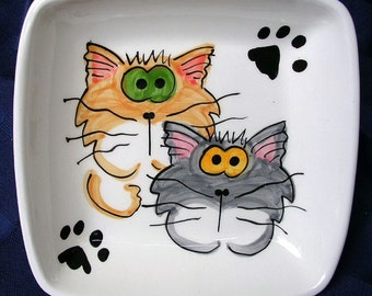 Goofy Cats On A Square Clay Dish / Bowl Ceramic Handmade by Grace M Smith