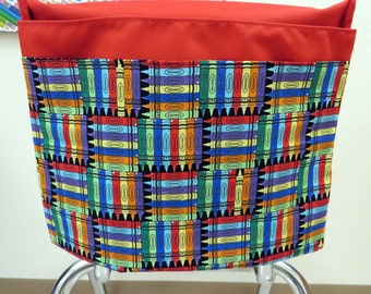 1 SMALL Chair Pocket Seat Desk Sack ReD CRAYON Fabric 2 POCKETS Get Organized