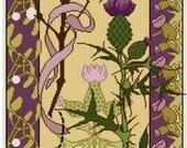 Mistletoe and Thistle floral panel Cross stitch pattern PDF floral pattern grasshopper