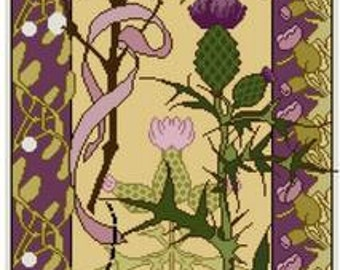Mistletoe and Thistle floral panel Cross stitch pattern PDF floral pattern grasshopper
