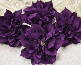 New! Set of 4pcs Handmade Silk flower--purple (FB1042)