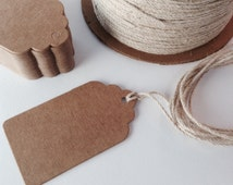 Brown kraft hang tag / price tag label, Medium size, gift tag, wedding favour tags, scalloped edge, also available in white.