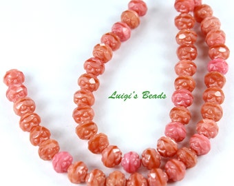 25 Coral Pink Czech Firepolish Rosebud Glass Beads 5x6mm