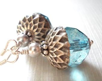 Acorn earrings silver aqua slate blue acorn drop earrings nature inspired sea ocean glass 925 sterling silver dangle earrings forest beaded