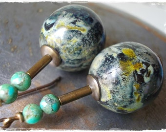 Dragon Egg earrings green black rustic organic earthy glass bead oxidized solid brass dragon scale snake skin snakeskin  turquoise gemstone