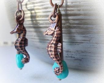 Seahorse earrings, seahorse jewelry, handmade copper earrings, turquoise seashell, nautical jewelry, ocean inspired, navy, sea, fish, beach