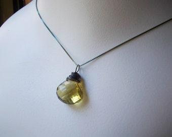 Lemon Quartz Necklace yellow quartz wire wrapped oxidized 925 sterling silver large stone faceted briolette teardrop gemstone charm necklace