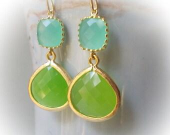 Green jade earrings, mint blue earrings, gold earrings glass gold drop earrings bridal earrings jewelry bridesmaid earrings gift  for mother