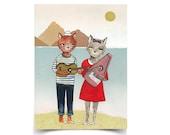 Seaside Sonata - Cat Duo - 8.5 x 11 Poster