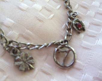Vintage Little Girls Silvertone Lucky Charm Bracelet with 3 Charms