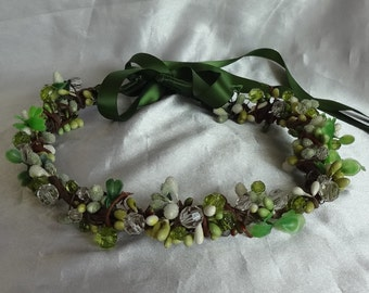 Bridal Hair Wedding Hair Green Woodsy Boho Crown Rhinestone Hair Wreath Fascinator Boho Whimsy