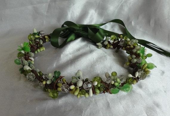 Bridal Hair Wedding Hair Green Woodsy Crown Rhinestone Hair Wreath Fascinator Boho Whimsy