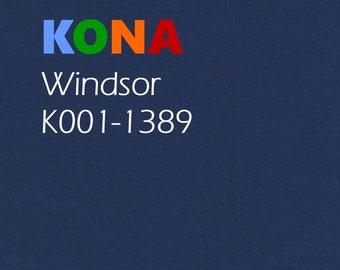 1/2 yard Kona Windsor Blue Cotton solid fabric, Robert Kaufman