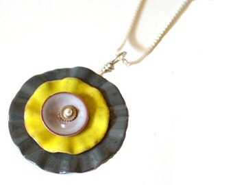 Enamel Lily Pad Necklace  Gray Yellow Pendant