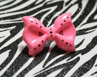 Pink Bow Ring, Large Resin Bow, Kawaii Lolita, Adjustable