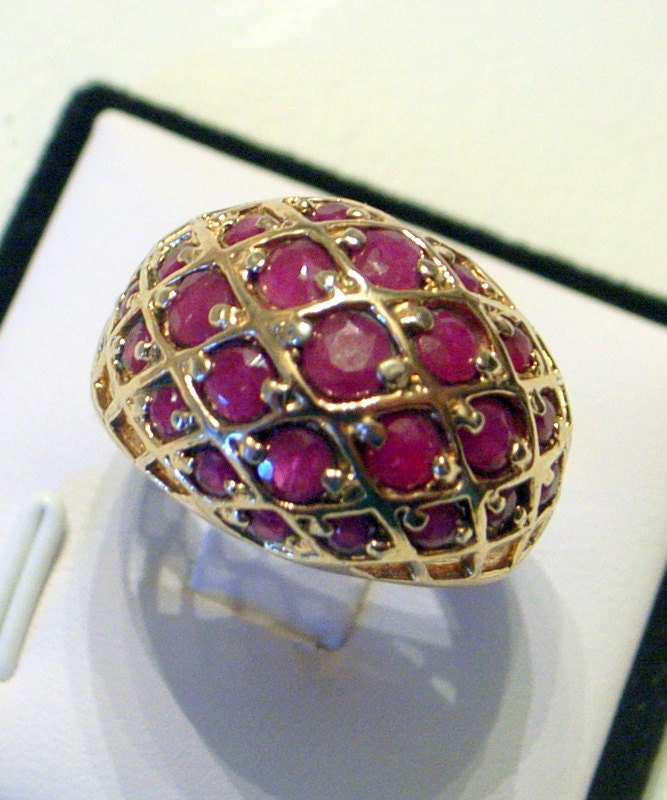 Vintage Ruby Ring Dome Ring Natural Burmese Rubies Gold