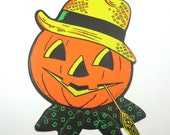 Vintage Embossed Grinning Jack o Lantern with Straw Hat and Corn Stalk Halloween Die Cut Decoration by Beistle