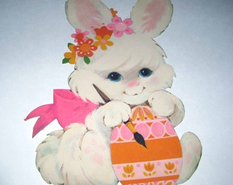 Vintage Die Cut Cardboard Easter Decoration with Sweet White Rabbit Painting an Easter Egg