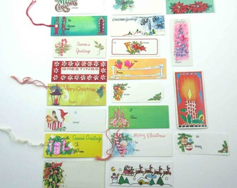 Set of 20 Assorted Vintage Christmas Tags String Tags or Cards Lot G