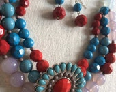 Chunky gypsy boho navaro style  necklace set blue red mixed multi color tone acrylic beads grand layered faceted