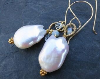 Baroque pearl earrings in 14k gold fill - aquamarine and opal - statement earrings - huge pearl earrings - pearl jewelry - gemstone jewelry