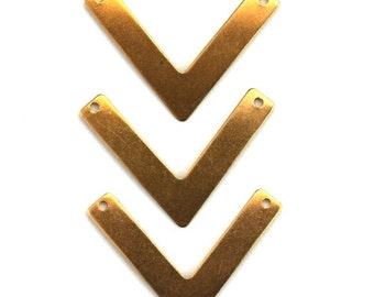 V Shape Triangle Bar Charm or Pendant Raw Brass (6) CP233