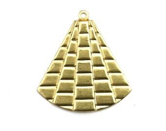 Geometric Fan Drop Charm Raw Brass Pendant (4) CP256
