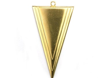 Long Triangle Charm or Pendant Raw Brass (3) CP258