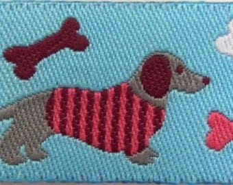2 yards DOGS Jacquard trim in burgundy, pink, white, grey on turquoise. 7/8 inch wide. 988-A