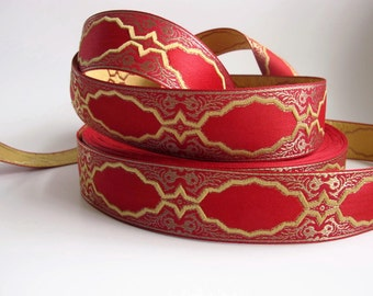 2 yards  BAROCCO rich wide Jacquard trim in mustard antique gold on red. 1 1/2 inch wide. 994-A