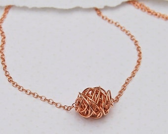 14ct Rose Gold Filled Wire Wrapped Necklace, Bridesmaid's Necklace, Mother's Day Gift, Wedding Necklace, Rose Gold Necklace, Wire Ball