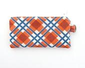 orange plaid coin purse. wristlet zipper change pouch cardholder. navy cream cute small gift idea. inhaler lipstick ear bud case