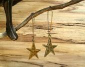 Star Earrings, Brass Earrings, Kidney Ear Wire