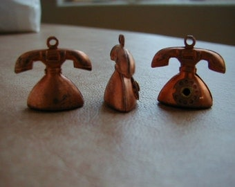 6 VINTAGE Copper Telephone Charms