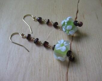 Insouciant Studios Tea Garden Earrings Floral Lampwork